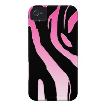 PINK zebra stripe! Animal print iPhone 4 Case-Mate Cases from Zazzle.com