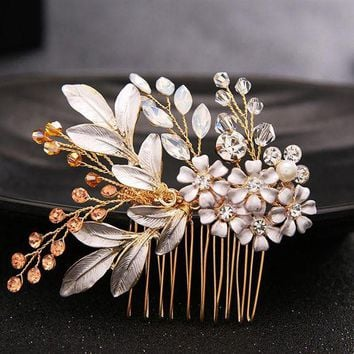 DCCKU62 Luxurious Gold Hair Comb Hair Sticks Crystal Flower Hair Jewelry Festival Gifts Bride Hair Pins Wedding Accessory SL