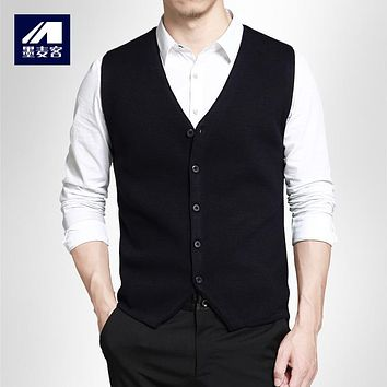 Mmaicco Men Wool Vest Autumn Sleeveless Jacket Male Cashmere Knitted Sweater Men Classic Casual V-Neck Cardigan Male Brand Coat