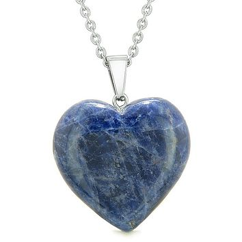 Lucky Puffy Heart Charm Crystal Sodalite Good Luck Protection Powers Amulet Pendant Necklace