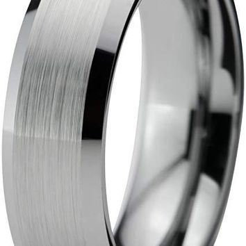 Grey Tungsten Wedding Ring Bevel Edge and Brushed Polished Comfort Fit - 6mm