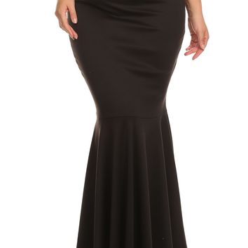 Solid color, full length, mermaid skirt with pleated hem