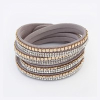 Gray Leather Gold Studed Wrap Bracelet