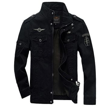 Jacket Men Cotton Jean Military Jackets Plus Size 5XL 6XL New Coat Male jaqueta masculina Pilot outerwear Denim Jackets