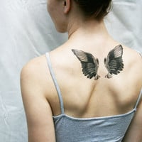 wings black and white vintage angel bird temporary tattoo
