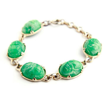 Vintage Egyptian Green Scarab Lucite Adjustabel Bracelet