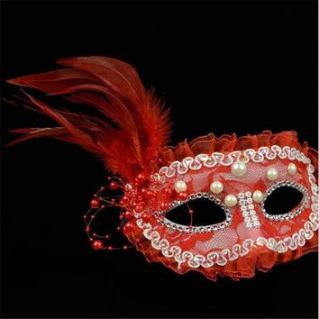 ICIKF4S Halloween Ball Masquerade Performance Princess Lace Pearl Feather Half Face Mask Female Models Party Masks VDY43 P30