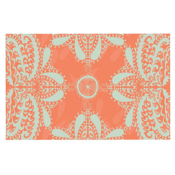 "Nandita Singh ""Motifs in Peach"" Orange Floral Decorative Door Mat"