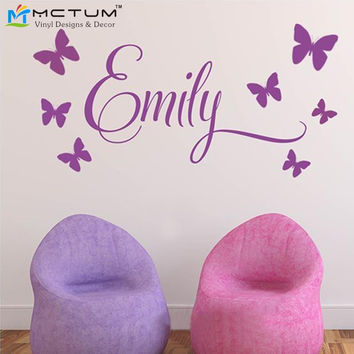 Personalized Name Princess 7 Butterflies Baby Girl Wall Decal Nursery Vinyl Sticker Decor Children Room Decor Wall Art 30*60CM