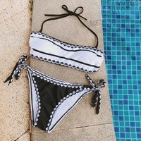 Retro Print Bandeau Strapless Push Up Bikini Swimsuits