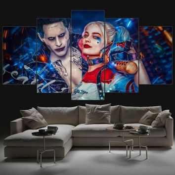 2017 JIE DO ART Suicide Squad The Joker and Harley Quinn Jared Leto and Margot Robbie suicide squad art Illustrated Prints Home