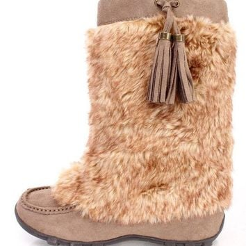 Womens Moccasin Mukluk Flat Boots Faux Fur Suede Tassel Mid Calf Shearling Snow