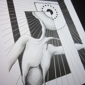 CONTRAST STUDY: Original artwork in pen and ink, surreal pen drawing, black and white illustration, 9x12