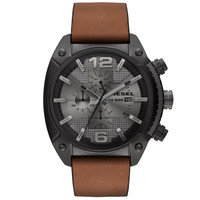 Diesel - Men's Black Ion-Plated Stainless Steel Brown Leather Chronograph Watch DZ4317