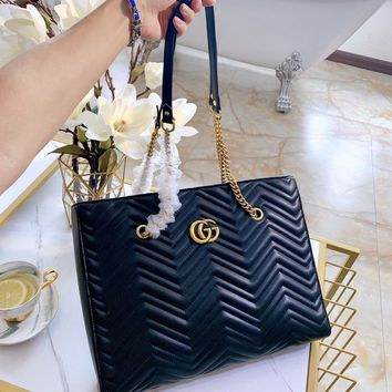 HCXX 19Oct 100 Gucci Marmont Wave GG Quilted Classic Fashion Chain Tote Large Shopper Bag 39-29-6cm
