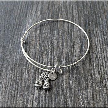 Silver Boxing Gloves Charm Expandable Bangle Bracelet, Adjustable Bangle, Stacking Charm Bracelet, Personalized Fighter Charm Bangle