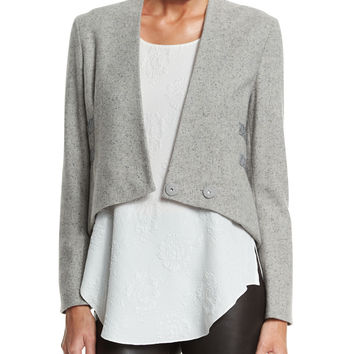 Cropped Jacket W/ Band Detail, Size: 4, GREY MELANGE - Derek Lam 10 Crosby