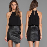 Graceful Women Ladies Irregular PU Leather Splicing Club Party Halter Dress Fashion Chiffon Skirt = 5617130049