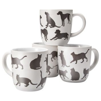 Threshold™ Stoneware Cats and Dogs Decal Mugs Set of 4 - White (16 oz.)