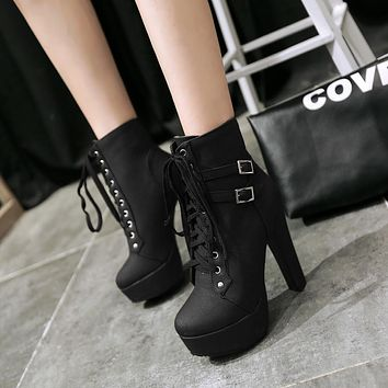 Plus Size Platform High Heels Round Head Short Martin Boots