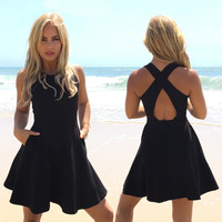 High Tide Skater Dress In Black
