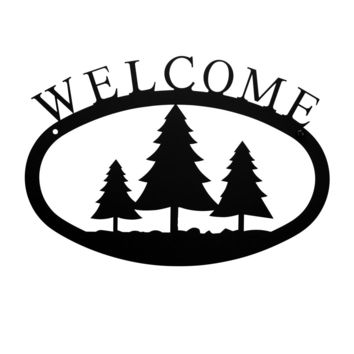 Wrought Iron Small Pine Trees Welcome Home Sign Small