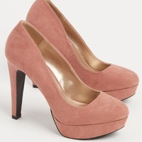 Pink Faux Suede Pumps By Qupid