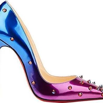 Christian Louboutin DEGRASPIKE 120 Studded Heel Shoes Ombre Pink Rose Blue $1065
