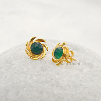Green Onyx Round 7mm Faceted Micron Gold Plated 925 Sterling Silver Stud Earrings Jewelry - Designer Handmade Earrings - #1689