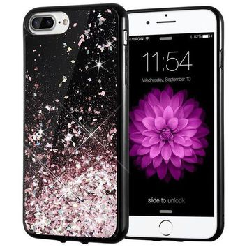 CREYRQ5 iPhone 7 Plus Case, Caka [Starry Night Series] Bling Flowing Floating Luxury Liquid Sparkle TPU Bumper Glitter Case for iPhone 6 Plus/6S Plus/7 Plus/8 Plus (5.5 inch) - (Rosegold)