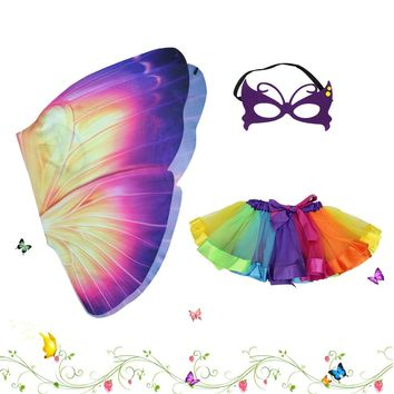 SPECIAL L27* Child Dance Costume Cosplay Animal Dress Costumes Butterfly Wings Tutu Skirt Fancy Dress For Birthday Show