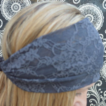 Lavender Lace Headband Stretchy Wide Lacy Head Band