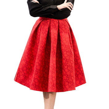 Women Skirts High Waist Midi Skirts Women Elegant Ladies Jacquard Midi Pleated Skirts Women Knee-Length Saia Feminina