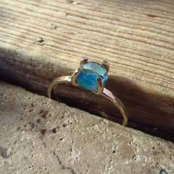 Claw Ring Gold Filled with Rainbow Topaz Gemstone