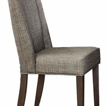Wood & Fabric Dining Side Chair with Shallow Wing Back, Gray & Dark Brown, Set of 2
