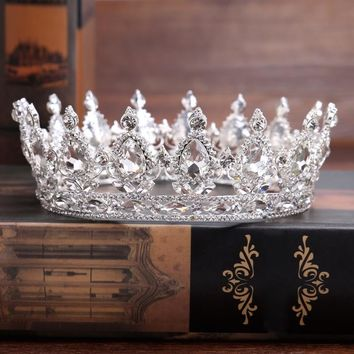 Vintage Gold Silver Queen Crown Crystal Wedding Tiara Baroque Bridal King Crown Rhinestone Tiara Crown Head Jewelry Accessories