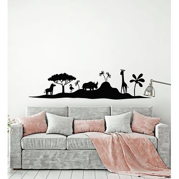 Vinyl Wall Decal African Landscape Wild Animals Child Room Stickers Mural (g1573)