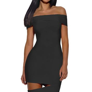Chicloth Black Off The Shoulder Cut Out Bandage Dress