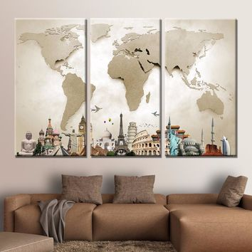 HD 3 Piece Canvas World Map Monuments  Modern Wall Art 3 Panels Canvas Prints Home Decor For Living Room