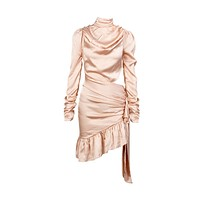 Whole Lotta Love Pink Long Sleeve Mock Neck Ruched Draped Cut Out Side Tie Asymmetric Ruffle Bodycon Mini Dress