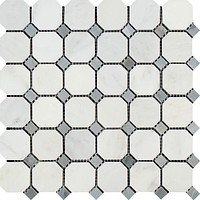 Oriental White / Asian Statuary Marble Honed Octagon Mosaic Tile w/ Blue Gray Dots