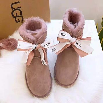 """UGG"" Winter Fashionable Women Cute Bowknot Warm Wool Snow Boots Purple"