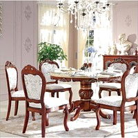 Flower Pattern Wooden  Dining Table With Six Chairs