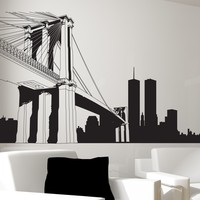 NYC Brooklyn Bridge Wall Decal. New York City Decor. #334