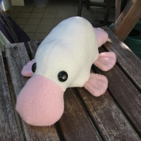 Little Platypus Plushie - White and Pink Albino Stuffed Animal Toy