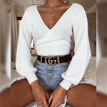 Women Off Shoulder V Neck White Sweaters Back Bow Long Sleeve Knit Pullovers
