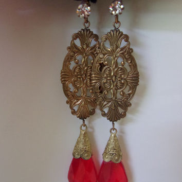 Czech ART DECO Jewelry Earrings Vintage 1920s Brass Glass Bead Pierced Rhinestone Drops