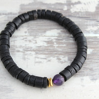 Mens Bracelet Special Price Limited Time Mens Jewelry Amethyst & Black Coconut Beaded Bracelet for Him Crown Chakra Meditation Yoga Gifts