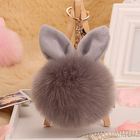 2017 Fluffy Pom Pom Rabbit Ear Fur Ball Key Chain Ring