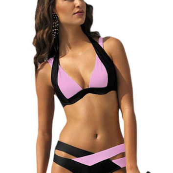 Two-Tone Cut-Out Lace Up Polyester Bikini Swimsuit